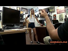 Petite amateur blonde babe with glasses gets nailed by pawn man at the pawnshop