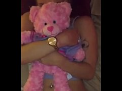 Girl gets fucked while holding her teddy bear