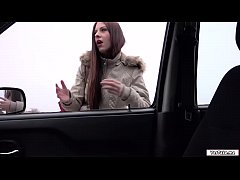 Italian hottie Rebecca gives a guy a blowjob for a free ride