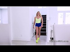 Fit blonde teen gets doggy style fuck