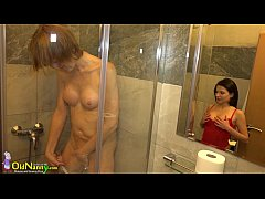 Old lady and cute teen shower and toysex