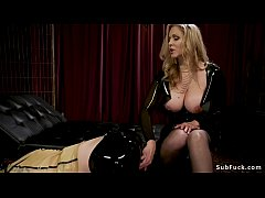 Male Tony Orlando with gimp mask and latex fetish outfit gets whipped by huge tits blonde mistress Julia Ann