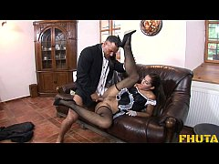 Fhuta - This naughty maid lets her master stick it up her ass