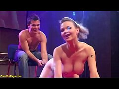sexy striptease on public show stage