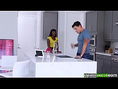 Ana bend her black ass over the kitchen topper and Ryan drills her hole from behind in a standing doggystyle position!