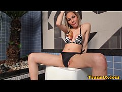 Gorgeous transsexual jerking off