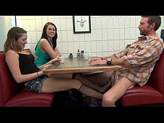 Daughter gives Footjob and BJ to Dad Under the ...