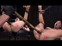 Master made two lesbian slaves fucking with gag dildo