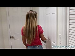Slutty Wife Kimber Lee Blows The AC Repair Man for Facial!