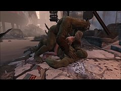 Fallout 4 A blonde and 2 green monsters