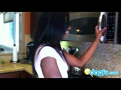 Black cam slut Ana fucked in the kitchen