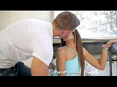 PornPros - Little redhead is riding her man's cock