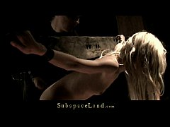 Blonde Mia tight bound and used for bondage satisfaction