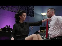 Dominatrix Cherry Torn makes dude sniffing her feet in stockings then with strap on cock anal fucks him later wanks his dick till he cum
