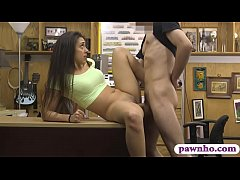 Brunette beauty railed by pawnshop owner