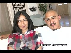 Hot Latino couple fucking on couch