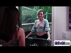 New neighbour Eliza Jane asks Shyla Jennings if she can do her laundry.Eliza gets naked to wash everything.What a good idea n when both ladies wait in the nude they start kissing.Eliza sits on Shylas face and licks her ass before Shyla eats her pussy