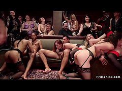 A lot of hot slaves at orgy upper floor party gets their pussies and assholes fucked