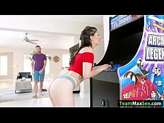 Stepbro gets home and saw his stepsis Coralee Summers playing arcade video games. He goes forward pulls out his dick and lets Coralees strokes his big cock. After that, he fucks Coralees pussy and transfers to the couch and lets Summers suck his cock