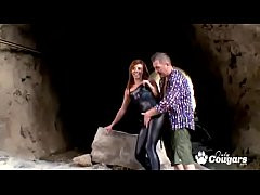 Bianca Resa gagging and sitting on huge dick at the beach