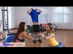 Fitness Rooms Naughty young girls cock hungry threesome with gym hunk