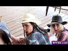 Cowboy fucking blonde cowgirl doggystyle while kissing the other cowgirl
