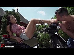 Allysia Kent toe sucked and gives footjob outdoor on scooter