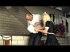 Blonde maid fucking in white stockings and heels