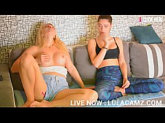 Hot sisters masturbate on couch