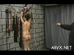 Naked woman screams with guy roughly playing wi...