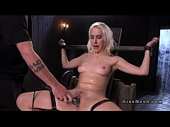 Blonde slave hard flogged and gagged with dildo...