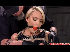 Blonde bdsm hogtied for anal and pussy toying