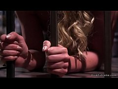 Big tits blonde Milf slave Phoenix Marie in small cage on all four pulled out by master and tied up