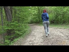 Webcam model Alexsis Faye runs with the dears in the woods and gets naked.