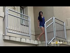 Pissing outdoors - Brunette gets filmed by boyfriend while peeing in public