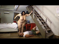 BBW Fat Ass Trampled Small Guy Punishment