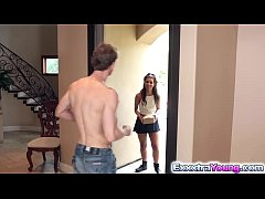 Petite teen Gabriella Ford fucks a neighbors cock