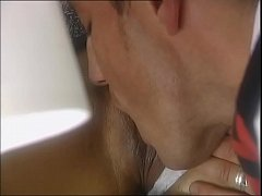 A man licks the pussy of a customer under the t...