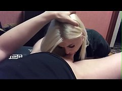 Homemade deepthroat sloppy blowjob from a cute blonde, oral creampie 2