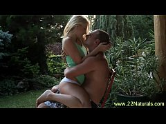 Naughty petite blonde gets a mouthful