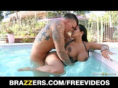Latina MILF with huge boobs fucks the pool boy ...