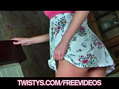 Blonde teen with sexy long legs plays with her new vibe