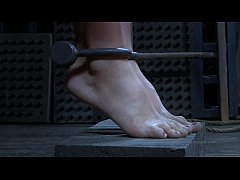 Strappado, claustrophobia and orgasm predicament for captive girl