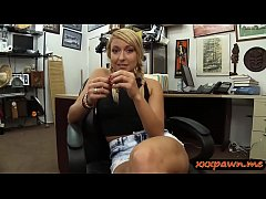Amateur blonde babe gives head and gets her sweet pussy pounded by horny pawn man