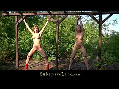Blonde beautiful teens double bondage perverted outdoor