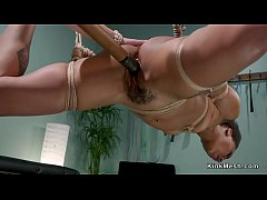 Blonde doctor puts hot ebony in suspension bondage and anal bangs her with strap on