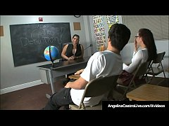 Thick Cuban Professor Ms. Castro, forces her student Roxanne Roxanne Rae to worship her feet & give a fellow student a footjob!