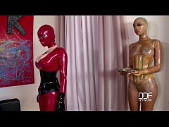 Latex lucy and katia get the daylights fucked out of them