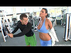 busty Charley Chase seduces her fitness trainor...