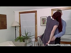 Redhead shemale kissing and getting hard